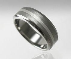 Men's Wedding Band Titanium Silver Swirl by spexton on Etsy, $349.00