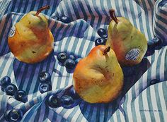 Pears and Stripes by Chris Krupinski Watercolor ~ 15 x 22