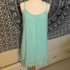 (A73) Charlotte Russe Shift Dress Lovely simple shift dress. Bright sky blue color with lace at the bottom. The lace is a bit curled but no tears. Charlotte Russe Dresses Mini