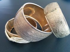 Vintage Bracelet LOT Engraved Gold Tons Flower Bangle Cuff Cross Hatch NICE 6093