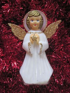 Vintage Angel Tree Topper Christmas Gold with Glitter Embellishments and Wings Beautiful Decoration Original Box Precious Sweet Blue Eyes