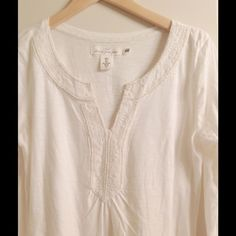 Cream Long Sleeve Beaded Top V neck cream colored beaded top from H&M Logg Collection. New with tags. Size small. The top looks a little darker so more cream than white. H&M Tops