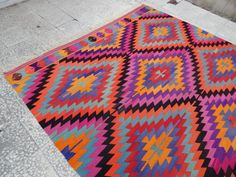 Pink Mint Green Yellow & Orange Colored DIAMOND Pattern Vintage Turkish Boho Kilim Rugs, Colorful Wool Floor Rug 7'3'' X 8'11'' / 222x271 cm