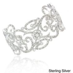 Icz Stonez Sterling Silver or Gold over Silver CZ Swirl Cuff Bracelet