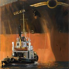 """by Dirk Verdoorn """"Assistance"""" Nautical Painting, Nautical Art, Merchant Navy, Merchant Marine, Boat Illustration, Art Pictures, Photos, Ship Drawing, Abandoned Ships"""