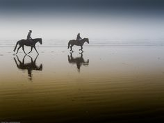 Two equestrian riders, girls on horseback, in low tide reflections on serene Morro Strand State Beach Photo by Mike Baird