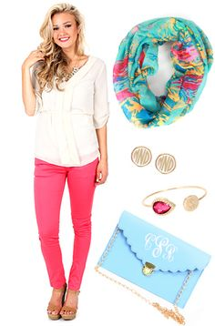We #LOVE this outfit idea! Bright colors are perfect for #Spring! ---Clothing & Scarf are from mondaydress.com. Accessories are from marleylilly.com!---