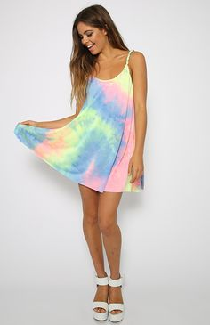 Tie Me Up Dress - Rainbow Print Tie Dye Dress from peppermayo.com