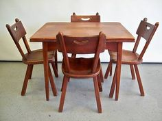 antique Cushman colonial maple dining room table & 6 Windsor back ...