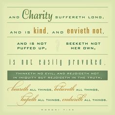 Charity sufferth Long and is kind and envieth.