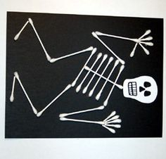 q-tip craft - i like this because you can use it for Halloween AND for a pirate unit study, you can have the kids make their own pirate flags!   Boo, thought this would be a fun halloween craft for your kiddos.