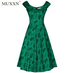 72bf51a52f MUXXN Women's 1950s Scoop Neck Off Shoulder Cocktail Dress Click Link  :http://