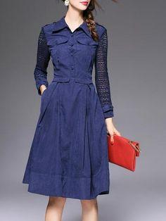 Classic Fashion Lapel Lace Split Joint Long Sleeve Corset Slim Maxi Dresses