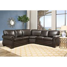 erica 6piece top grain leather modular sectional black interior living room pinterest ottomans living rooms and interiors