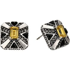 House of Harlow 1960 Art Deco Stud Earrings (Silver) Earring ($30) ❤ liked on Polyvore featuring jewelry, earrings, silver, silver stud earrings, silver tone jewelry, art deco earrings, silver post earrings and art deco jewelry