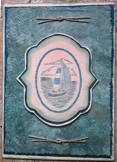 sailboat on handmade paper