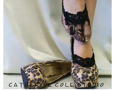 Lace socks heels peep socks wedding shoes bridal footlets bridesmaids womens  lace socks  ENCHANTING LACE Black Catherine Cole Studio FTL4