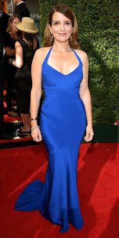 Tina Fey wearing a royal blue gown.