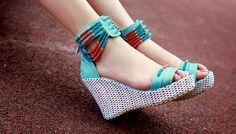 Trendy & Hot Beaded Wedge-heeled Sandals----Green
