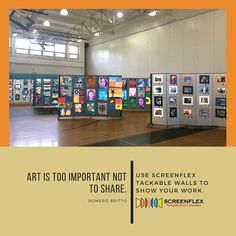 Our customers share the most amazing images with us.  Art displays in a school gym have never looked to good.  #artshow #art #artdepartmentrules #education #artists #school