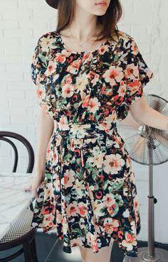 Sweet O-neck Short Sleeves Chiffon Floral Dress