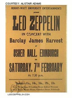 Led Zeppelin at Usher Hall, Edinburgh, Scotland - February 1970 Led Zeppelin Tour, Led Zeppelin Concert, Led Zeppelin Poster, Tour Posters, Band Posters, Music Posters, Psychedelic Bands, Vintage Concert Posters, Retro Posters