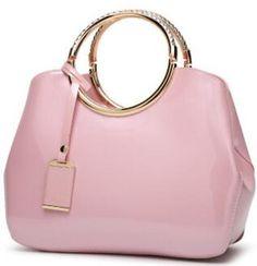 Ladies Faux Leather Glossy Detail Tote Handbag Women Crossbody Shoulder Bag