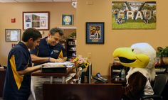 Ernie the Eagle is busy working in the Alumni office!