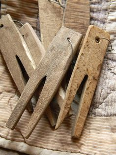 Hand Carved Primitive Wooden Clothespins - From Notforgotten Farm