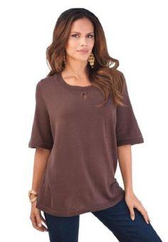 Roamans Plus Size Keyhole Neck Sweater (Chocolate,L) Roamans. $22.49