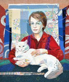 """Luc Roeland, 42 """" x 50"""", commission quilt,  2009 by Leslie Gabrielse.  Portrait quilt."""