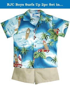 RJC Boys Surfs Up 2pc Set in Teal - 5T. SIZING INFO | RJC | Boys | 2pc Cabana Set | SIZING FACTS | please do not use Amazon's generic sizing info for this cabana shirt | these are the measurements of the cabana shirts, NOT your boy's body | this cabana camp shirt is wider and shorter than RJC boy's camp shirt | SIZING TIPS | this 2pc set runs small for most boys | to ensure a right fit, please measure a shirt that fits your boy comfortably and order the cabana shirt according to our…