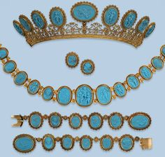 Antique Parure, France (ca. 1800; from top, Tiara, Earrings, Necklace, 2 Bracelets; pressed glass, gold).