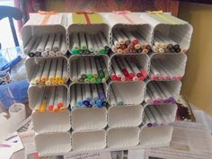 Craft Room - PVC gutter drainspout pipe. Copic/marker storage -or- stand vertically for colored pencils