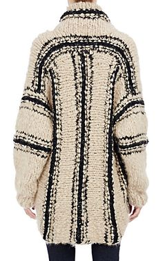 Spencer Vladimir Bouclé-Striped Oversized Cocoon Sweater - Turtleneck…