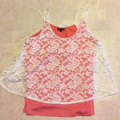 Last one! This boutique top is a size xl. Double layer look with lace overlay in ivory and a peach underlay. Double spaghetti straps and the back lace is split. All items from a smoke free home. Prices firm on boutique items unless bundles. All bundles are 20% off. This item is made in the US and is rayon and spandex. No hanging tags, but purchased straight from the wholesaler. Boutique mm Tops