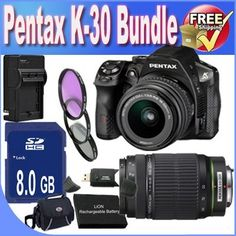 Pentax K-30 Digital Camera with 18-55mm AL and 55-300mm AL Lens Kit + 8GB SDHC Class 10 Memory Card + Extended Life Battery + External Rapid Travel Quick-Charger + USB Card Reader + Memory Card Wallet + Shock Proof Deluxe Case + 3 Piece Professional Filter Kit + Accessory Saver Bundle! by BVI. $1005.29. This Kit Includes!  1- Pentax K-30 Digital Camera with 18-55mm AL and 55-300mm AL Lens Kit w/ All Supplied Accessories  1- 8GB SDHC Class 10 Memory Card 1- Extended Life Bat...