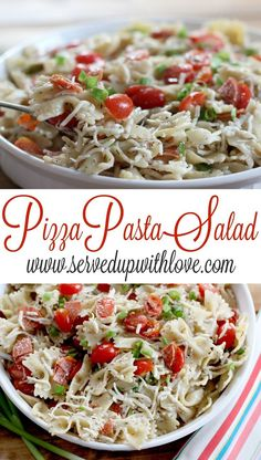 Pizza Pasta Salad recipe from Served Up With Love. Packed with a ton of flavor, this salad will have you coming back for more. www.servedupwithl...