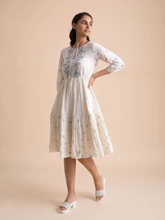 Product Code: and ethereal, this dress comes with abundant block printing on yoke, neck tie-ups and a cotton slip dress to wear underneath.Made in handwoven cotton-silk and cotton fabric. Stylish Dresses For Girls, Stylish Dress Designs, Designs For Dresses, Simple Dresses, Casual Dresses, Women's Dresses, Ball Dresses, Trendy Outfits, Fashion Show Dresses