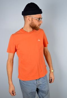 Adidas+Mens+Vintage+T-Shirt+Top+Small+Orange+90's