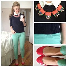 | Business Casual |  White Button Down + Navy Sweater + Mint Skinnies + Coral Flats
