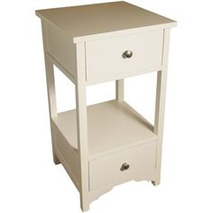 Two Drawer White Storage Table With Chrome Knobs