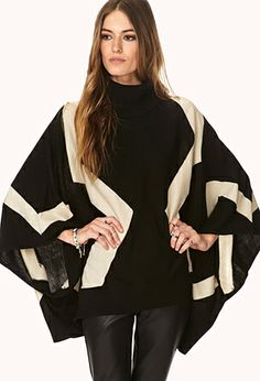 Geo Patterned Sweater Cape | FOREVER 21 - 2044924466 #ForeverHoliday