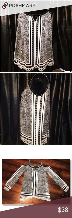 Paisley Cold Shoulder Blouse w/ a Beaded Neckline Black & White Paisley Print Blouse with Exposed Shoulders and a Beaded Neckline. INC International Concepts Tops Blouses