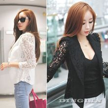 Fashion Women Ladies Sheer Lace Floral Patchwork Slim Fit Top Blazer Black White Blouse Jacket Shirt Size S M Free Shipping 0956(China (Mainland))