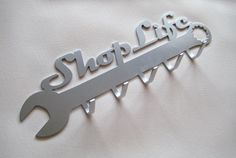 PAINTED Shop Life Wall Plaque Hanger in Steel Handmade Custom Metal Art CNC Plasma Cut