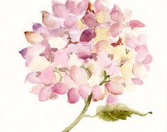 Dried hydrangea III, Original watercolor painting, Floral art, late summer flowers, hydrangeas, pink flowers, autumn season
