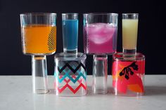 Wine and shot glass all in one. This is an awesome tutorial! Super easy, fun, cute and cheap. Those tumblers are a dollar at Target.