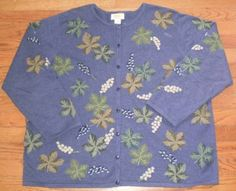 WOMENS 2X TALBOTS CARDIGAN button-up SWEATER floral KNIT, GORGEOUS for FALL!