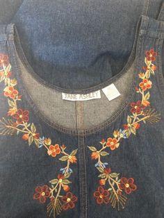 Jane Ashley Jeans Denim Romper Dress M Floral Embroidered Buttoned Sides | eBay